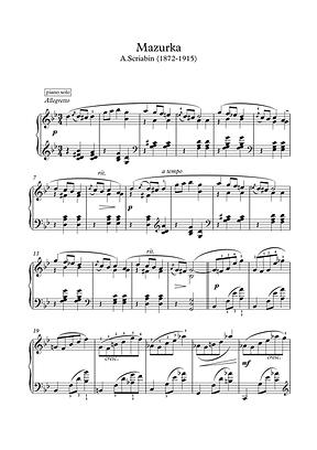 Mazurka Piano Solo Sheet Music Pdf Mp3 Scriabin
