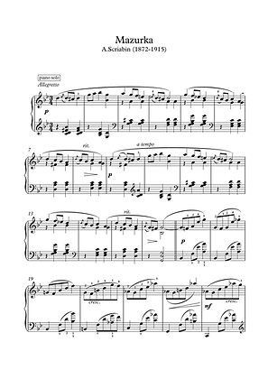 Mazurka by Scriabin piano solo sheet music