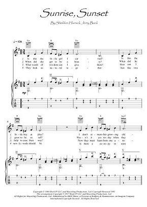 Sunrise, Sunset guitar or violin guitar duet score download