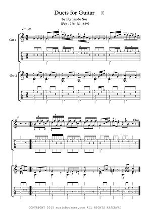 Guitar duets Sor scores
