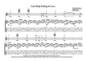 Can T Help Falling In Love Guitar Score by Presley