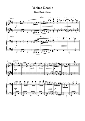 Yankee Doodle Piano Duet 4 Hands Sheet Music Pdf Mp3 Traditional