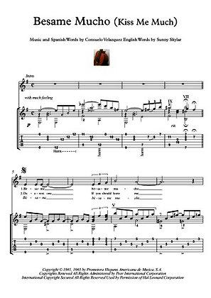 Besame Mucho (Kiss Me Much) guitar score download