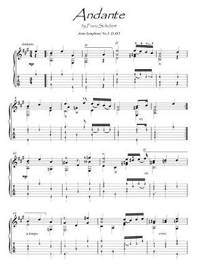 Andante by Schubert guitar solo score