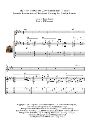 My Heart Will Go On Guitar Solo Sheet Music Dion