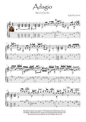 Adagio by Secret Garden guitar solo score download