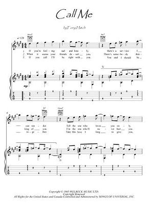 Call Me guitar fingerstyle score download