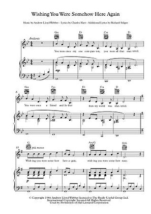 Wishing you were somehow here again PIANO SCORE