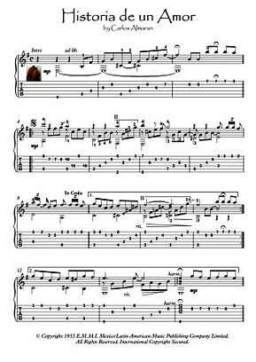 Historia De Un Amor guitar solo fingerstyle