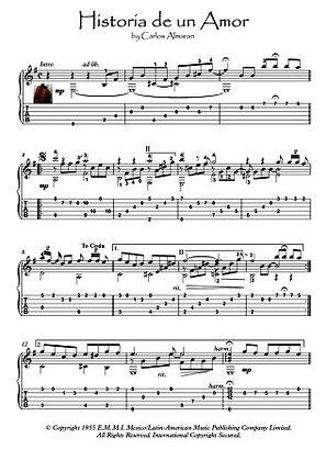 Historia De Un Amor guitar solo fingerstyle music score download