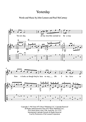 Yesterday By Beatles Classical Guitar Solo Score