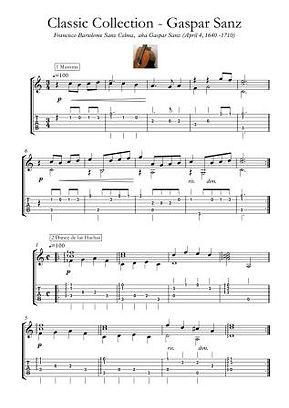 Gaspar Sanz Medieval And Renaissance Guitar Score Download