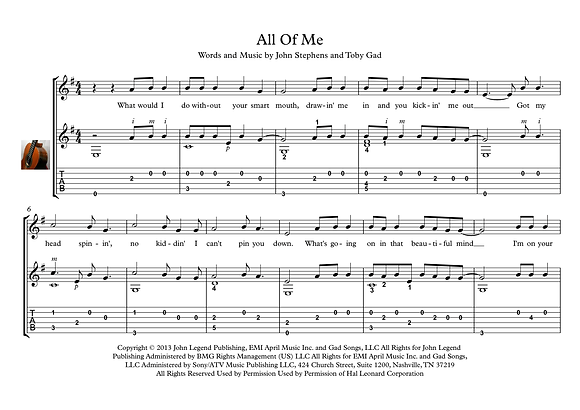 All of me classical guitar solo sheet music