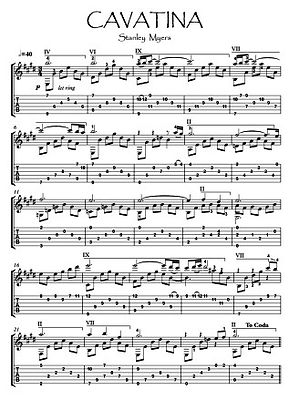 Cavatina Guitar solo sheet music download by Myers