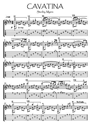 Cavatina Guitar solo sheet music download