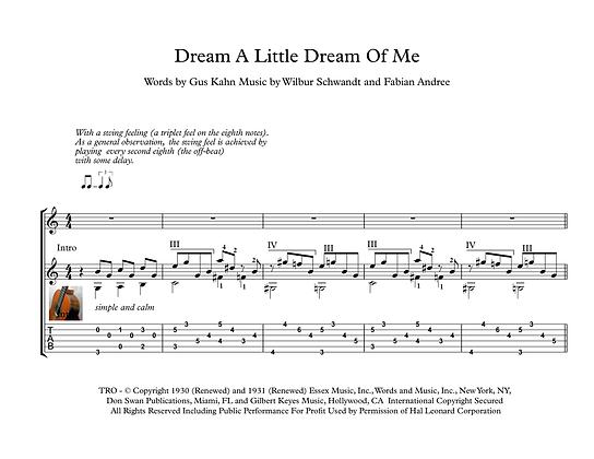 Dream A Little Dream Of Me guitar sheet music download