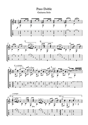 Paso Doble Guitar Solo Sheet Music