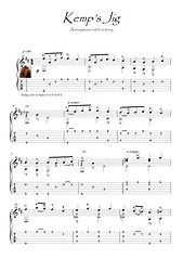 Kemp's Jig renaissance Guitar score download