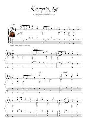 Kemp's Jig , a  famous 17th century jig guitar score download