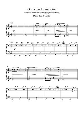 Oh Ma Tendre Musette Piano Duet 4 Hands Sheet Music Monsigny