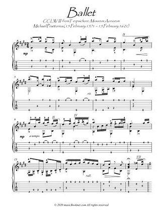 Ballet by Michael Praetorious guitar score