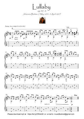Lullaby by Brahms guitar solo score download