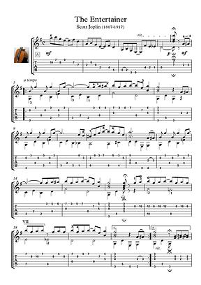 The Entertainer Guitar Solo Sheet Music Joplin