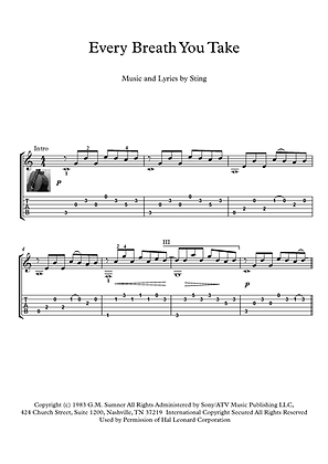 Every Breath You Take guitar score download