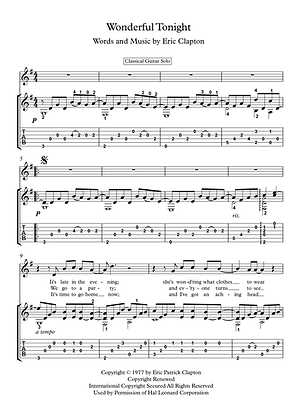 Wonderful Tonight guitar solo sheet music