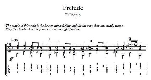 Prelude 20 by Chopin guitar solo sheet music