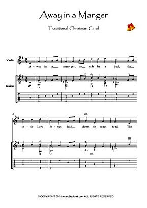 Away In A Manger Violin Guitar duet music score download Traditional