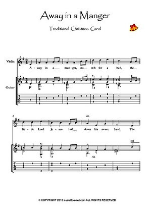 Away in a Manger Violin Guitar music score sample