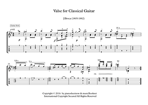 Valse For Classical Guitar Solo Sheet Music Broca