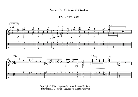 Valse for Classical Guitar solo sheet music Broca