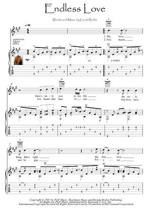 Endless Love guitar fingerstyle score download