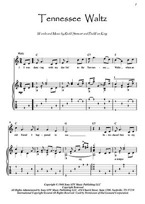 Tennessee Waltz country guitar fingerstyle score download