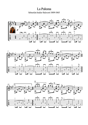 La Paloma by Iradier guitar solo sheet music