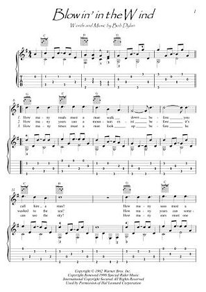 Blowin' In The Wind guitar score download