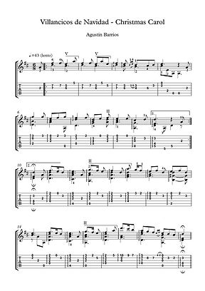 Villancicos De Navidad Guitar Solo Sheet Music Barrios