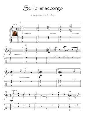 Se io m'accorgo guitar baroque score download