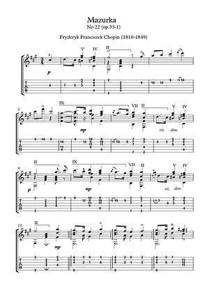 Mazurka 22 by Chopin guitar solo sheet music