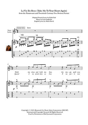La vie an rose guitar solo score download