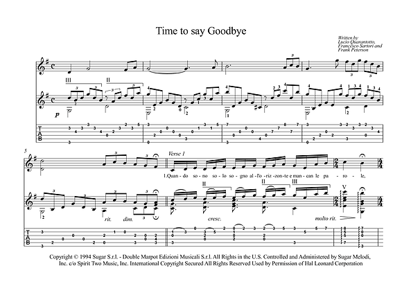 Time To Say Goodbye guitar sheet music download