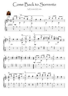 Come Back to Sorrento guitar fingerstyle solo by Ernesto de Curtis