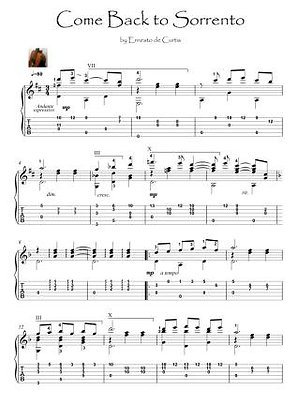 Come Back to Sorrento guitar fingerstyle solo music score download