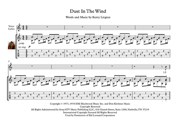 Dust In The Wind guitar solo sheet music download