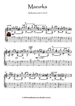 Mazurka by Alexander Scriabin guitar solo