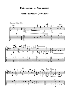 Traumerei Guitar Solo Sheet Music Schumann