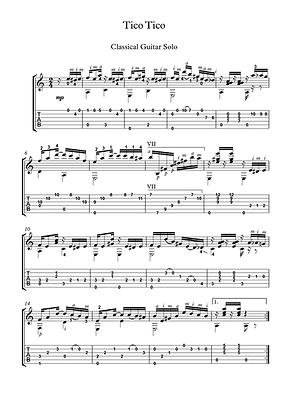 Tico Tico Guitar Solo Sheet Music Traditional