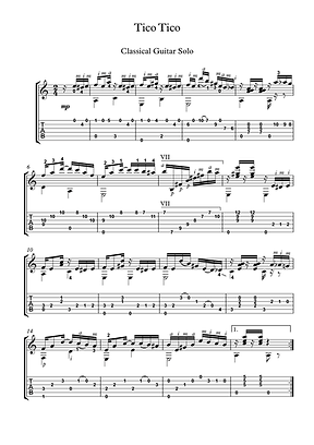 Tico Tico Guitar Solo Sheet Music Traditional